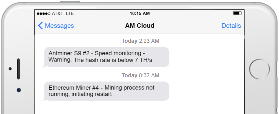 Awesome Miner Cloud telegram notifications